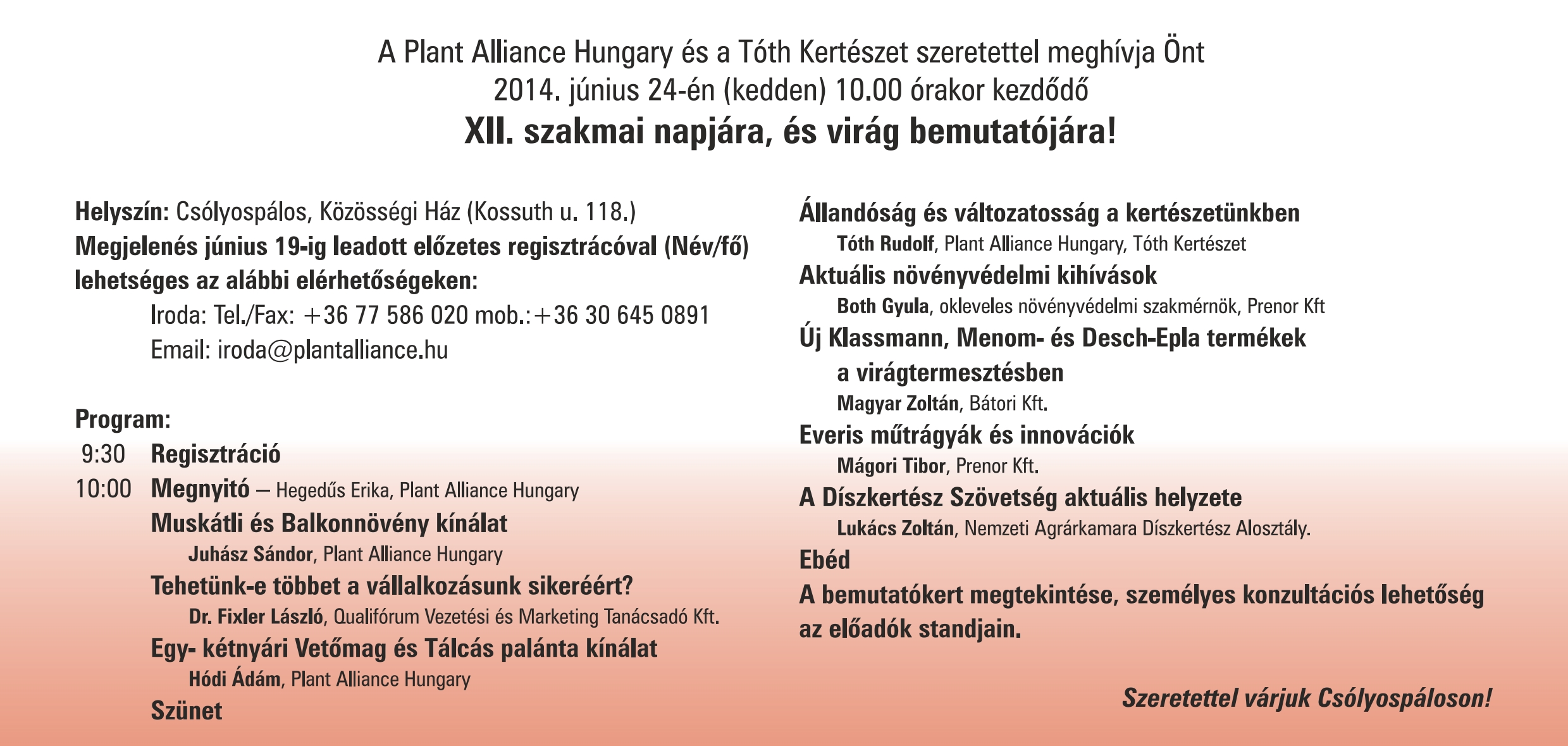 Plant Alliance Hungary Meghívó